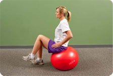 Seated physioball progression - hip flexion to 90 degrees