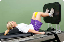 Leg press (minimal resistance, gradually increasing resistance to patient tolerance)