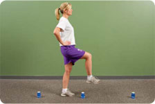 Forward walking over cups and hurdles (pause on affected limb), add ball toss while walking
