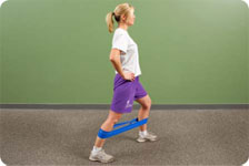 Theraband walking patterns - forward, sidestepping, carioca, monster steps, backward, ½ circles forward/backward - 25 yds. Start band at knee height and progress to ankle height