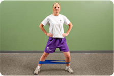 Side stepping with resistance (pause on affected limb), sports cord walking forward and backward (pause on affected limb)